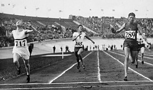 Athletics at the 1928 Summer Olympics – Men's 100 metres - Heat 8: Hubert Houben, Karel Kněnický, Johannes Viljoen