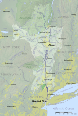 Located near the east border of the state, flowing from the north to the southern border of New York.