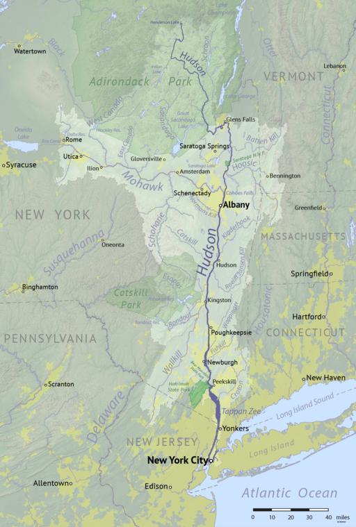 Mapa de la cuenca del río Hudson