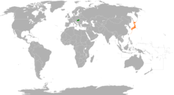 Map indicating locations of Hungary and Japan