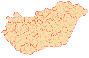 Subregions of Hungary - Image: Hungary administration map
