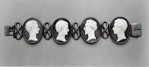 Jonathan Hunt (Vermont congressman) - Bracelet with cameo portraits of four sons of Jonathan and Jane Hunt, carved by artist William Morris Hunt, Museum of Fine Arts, Boston