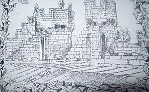 "Hylton Castle - ""Hylton Turrets"", a sketch by Robert Billings in 1846, facing south-west on the roof of Hylton Castle. The sketch shows the south-west tower, the south tower of the central bay on the east façade, and the decaying stone figures on the roof."
