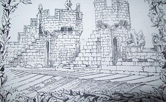 """Hylton Castle - """"Hylton Turrets"""", a sketch by Robert Billings in 1846, facing south-west on the roof of Hylton Castle. The sketch shows the south-west tower, the south tower of the central bay on the east façade, and the decaying stone figures on the roof."""