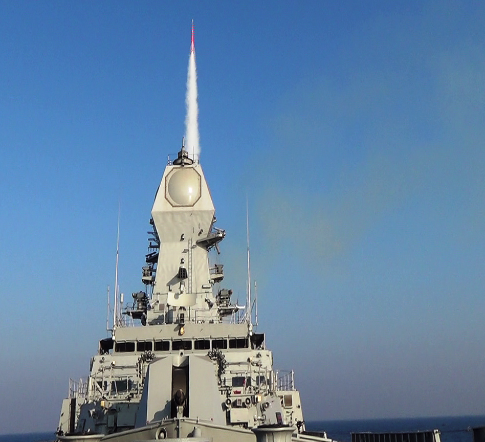 INS Kolkata firing a Long-Range Surface-to-Air Missile