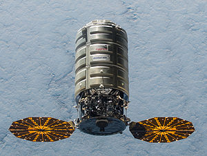 Navigation light - Cygnus 5 approaching International Space Station.  Navigation lights can be observed towards the rear of the spacecraft. A yellow light on bottom of vessel is not visible.
