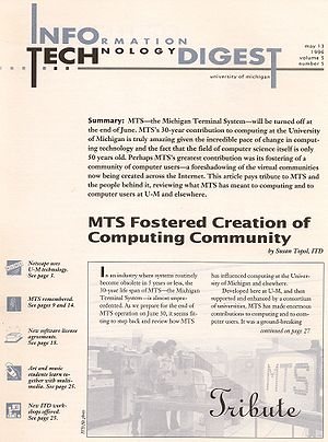 Michigan Terminal System - Cover page of the May 1996 issue of University of Michigan IT Digest, May 1996