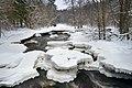 Ice and snow formations on Nukarinkoski rapids, Nurmijärvi, Finland, 2021 February.jpg