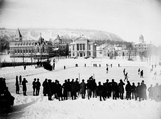 Amateur Hockey Association of Canada - 1884 Montreal Winter Carnival game at McGill rink. Unknown teams