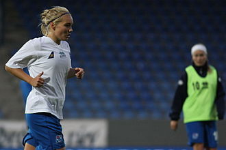 Icelandic Footballer of the Year - Margrét Lára Viðarsdóttir, pictured here on the left in 2009, is a five-time winner of the women's award.