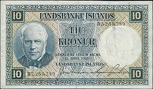 Jón Sigurðsson - The portrait of Jon Sigurðsson at l. on the obverse of an Iceland 10 Kronur Banknote dated 1928.