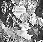 Iliamna Volcano, small mountain glaciers with faint folia, August 22, 1968 (GLACIERS 6597).jpg