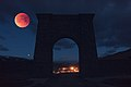 In-camera double exposure Super Blue Blood Moon at Roosevelt Arch (40004267771).jpg