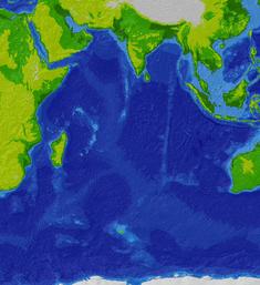 Indian Ocean bathymetry srtm