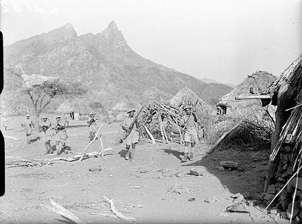 Indian troops clearing a village in Eritrea, 1941. Indian Troops in East Africa, 1941 E2182.jpg