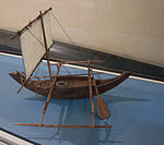 Indonesian boat with outrigger, model in the Vatican Museums.jpg