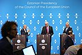 Informal meeting of ministers for agriculture and fisheries (AGRIFISH). Press conference Vytenis Andriukaitis, Phil Hogan and Tarmo Tamm (36207509124).jpg