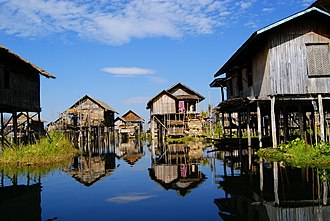 Stilt house - City of Yawnghwe in the Inle Lake, Myanmar.