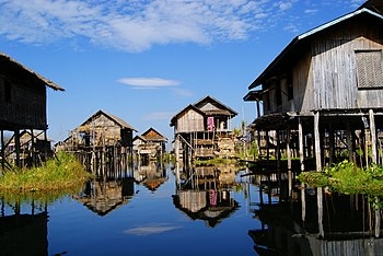 English: City of Yawnghwe in the Inle Lake (He...