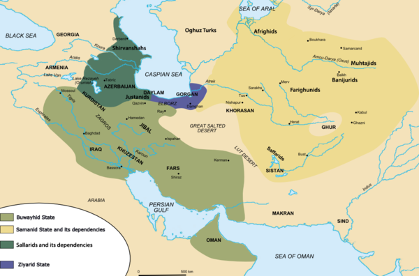 Map of the Iranian dynasties in the mid 10th-century. Iran circa 1000AD.png