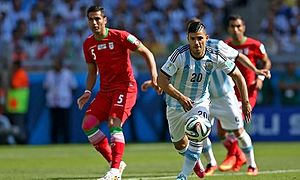 Amir Hossein Sadeghi - Sadeghi playing for Iran against Argentina national football team striker Sergio Agüero