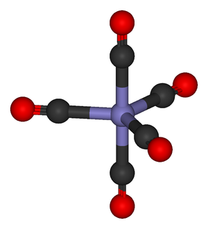 Metal carbonyl - Iron pentacarbonyl An iron atom with five CO ligands