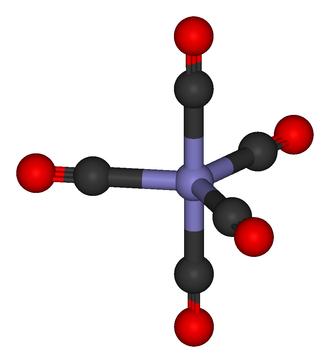 Metal carbonyl - Iron pentacarbonyl An iron atom with five CO ligands