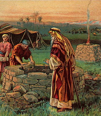 Isaac - Isaac digging for the wells, imagined in a Bible illustration (c. 1900)