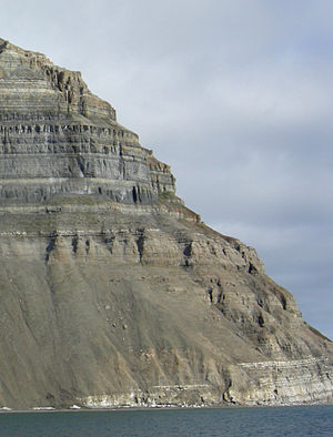 Facies - Stratigraphic column on the north shore of Isfjord in Svalbard Norway. The vertical succession of rock types (representing sedimentary facies) reflects lateral changes in paleoenvironment.