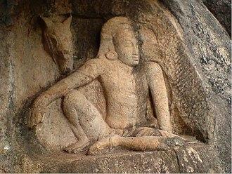 Aiyanar - 5th century CE Isurumuniya sculpture often identified with Ayyanayake, Sri Lankan Ayyanar.