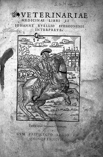 Absyrtus (history) - Veterinariae Medicinae, published by Jean Ruel, containing the works of Apsyrtus.