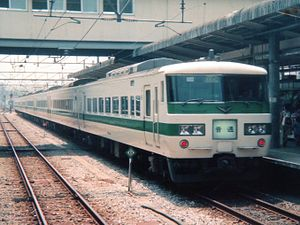 185 series - 185-200 series in original colour scheme on a local service at Takasaki in 1991
