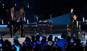 "JYJ - 2014 Asian Games opening ceremony, JYJ performing, ""Only One"". Left to right: Junsu, Jaejoong, Yoochun."