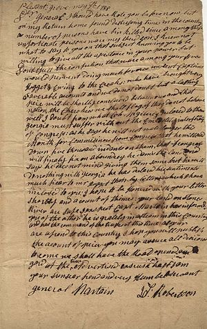Joseph Martin (general) - Letter from James Robertson, founder of Nashville, Tennessee, to Joseph Martin, 1788