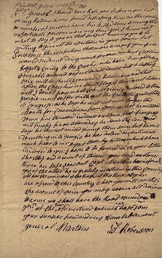 Joseph Martin (general) - Letter from James Robertson, founder of Nashville, Tennessee, to Joseph Martin, Jr., 1788
