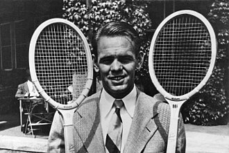 Jack Kramer - Kramer with two rackets