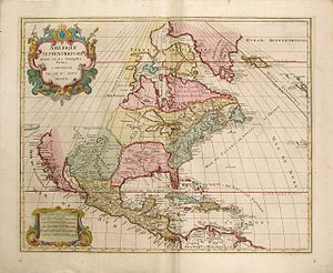 Bernardo de Gálvez - Norteamerica, 1792, Jaillot-Elwe, Spanish Florida's borders after Bernardo Gálvez's military actions, which appear to include Spanish Louisiana and Spanish Texas, as well.