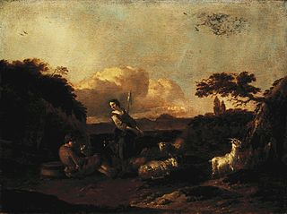 Shepherdess and a Flock of Sheep