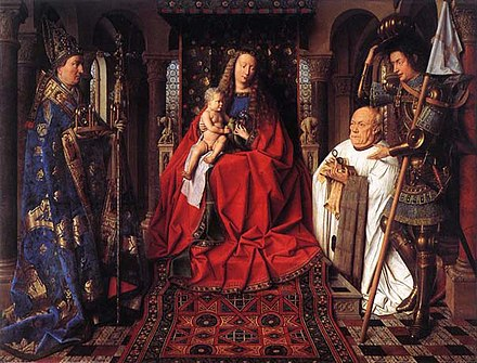 The Virgin Mary and the child Jesus seated on an elevated throne decorated with biblical figures. To the left is St. Donatian (standing). The panel's donor Joris van der Paele kneels in prayer as St. Donatian stands over him