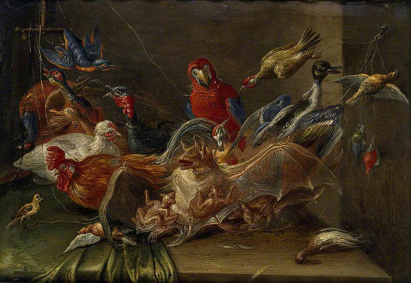 File:Jan van Kessel (I) - Decorative Still-Life Composition with Birds and two Bats.jpg