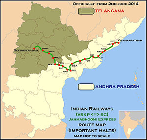 Janmabhoomi Express Route map
