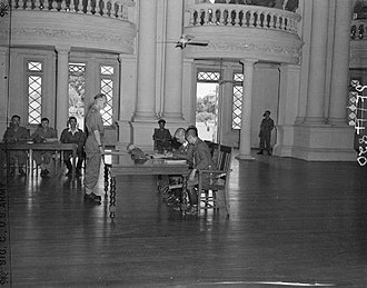 Japanese occupation of Burma - General Ichida Jiro formally surrenders to Brigadier E.P.E. Armstrong at Government House, Rangoon.