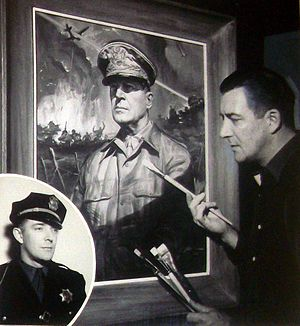 Jay Meuser - Meuser painting General of the Army Douglas MacArthur's portrait in 1950