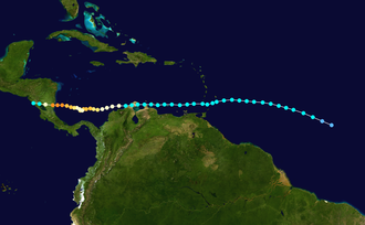 Cape Verde hurricane - Joan (1988), on a southern track.