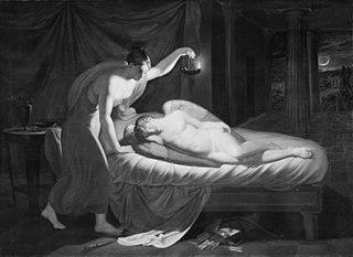 Psyke, der nærmer sig den sovende Amor
