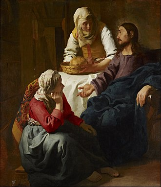 Mary of Bethany - Christ in the House of Martha and Mary, Johannes Vermeer, before 1654–1655, oil on canvas (National Gallery of Scotland, Edinburgh) – Mary is seated at the feet of Jesus