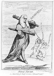 Cartoon of Sir Francis Buller in judges' robes and powdered wig, carrying bundles of rods; in the background, a man with a rod raised over his head is about to strike a woman who is running away from him