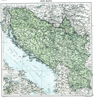 Creation of Yugoslavia - Map showing Yugoslavia in 1919 in the aftermath of World War I before the treaties of Neuilly, Trianon and Rapallo (note that this map does not reflect any internationally established borders or armistice lines - it only reflects the opinion of researchers from the London Geographical Institute about how final borders will look after Paris Peace Conference)