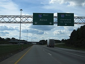 Interstate 76 in Ohio - Junction of I-80 and I-76 Near Youngstown, Ohio.