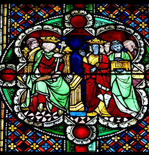Queen of Sheba - Queen of Sheba and Solomon, around 1280, window nowadays in Cologne Cathedral